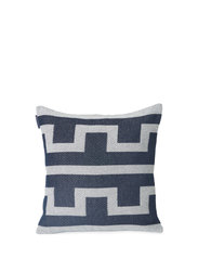 Graphic Recycled Cotton Pillow Cover - OFF WHITE/DK BLUE