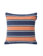 Printed Stripes Recycled Cott Canvas Pillow Cover - PEACH MELON/DK BLUE