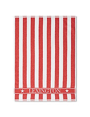 Striped Logo Organic Cotton Terry Kitchen Towel - RED/WHITE
