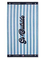 Graphic Cotton Velour Beach Towel - BLUE/WHITE