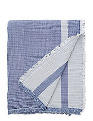 Double Faced Cotton Bedspread - BLUE/WHITE
