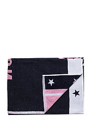 Graphic Cotton Velour Beach Towel - PINK/WHITE