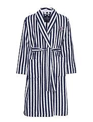 Striped Cotton-Mix Terry Robe - BLUE/WHITE