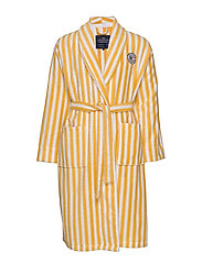 Striped Cotton-Mix Terry Robe - YELLOW/WHITE