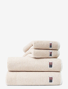 Original Towel White/Tan Striped - ręczniki kąpielowe - white/tan