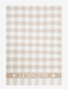 Icons Checked Cotton Terry Kitchen Towel - ręczniki kuchenne - beige/white