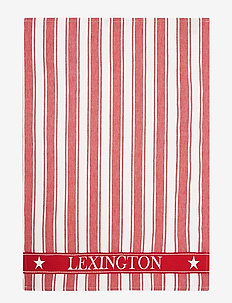 Icons Cotton Twill Waffle Striped Kitchen Towel - torchons - red/white