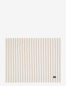 Icons Cotton Herringbone Striped Placemat - maty na stół - beige/white