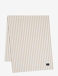 Icons Cotton Herringbone Striped Runner - obrusy i bieżniki - beige/white