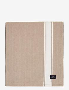 Icons Cotton Herringbone Striped Tablecloth - obrusy i bieżniki - beige/white