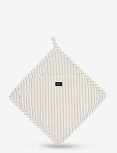 Icons Cotton Herringbone Striped Potholder - rękawiczki kuchenne, rękawiczki i uchwyty na garnki - beige/white