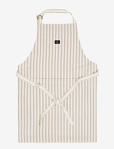 Icons Cotton Herringbone Striped Apron - tabliers - beige/white