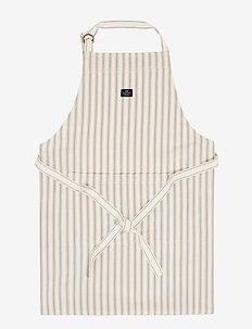 Icons Cotton Herringbone Striped Apron - fartuszki - beige/white