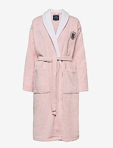 Lexington Cotton Velour Contrast Robe - kylpytakit - pink/white