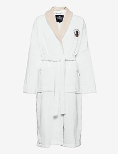 Lexington Cotton Velour Contrast Robe - kylpytakit - white/lt beige