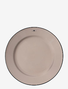 Stoneware Dinner Plate - ruokalautaset - beige/dk blue