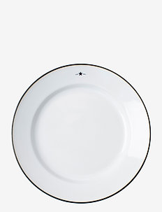Stoneware Dinner Plate - ruokalautaset - white/dk blue