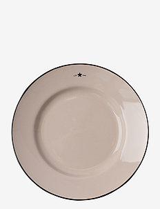 Stoneware Dessert Plate - leipälautaset - beige/dk blue
