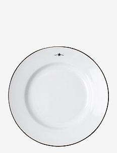 Stoneware Dessert Plate - leipälautaset - white/dk blue