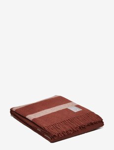 Hotel Wool Throw - blankets - chestnut/white
