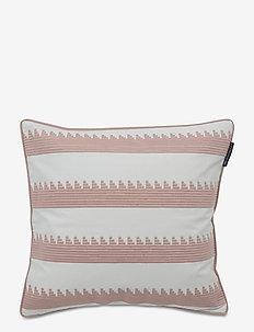 Embroidery Striped Sham - poszewki na poduszki ozdobne - pink/white