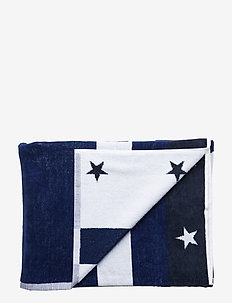 Graphic Velour Beach Towel - BLUE/WHITE