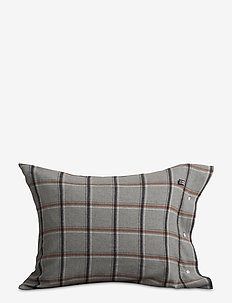 Checked Flannel Pillowcase - LT GRAY/WHITE/RUST CHECK