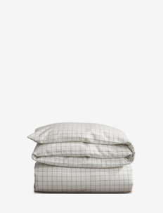 Cashmere Flannel Duvet - WHITE/LT GRAY CHECK