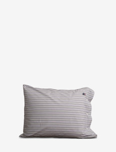 Multi Striped Poplin Pillowcase - GRAY/WHITE/RED MULTI STRIPES