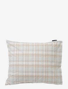 Beige Checked Madras Poplin Pillowcase - Örngott - white/beige