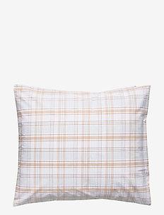 Beige Checked Madras Poplin Pillowcase - kussenslopen - white/beige
