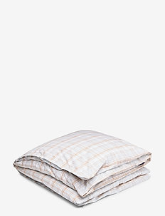 Beige Checked Madras Poplin Duvet - duvet covers - white/beige