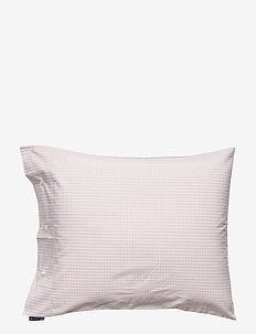 Beige Checked Tencel Pillowcase - pillowcases - white/beige