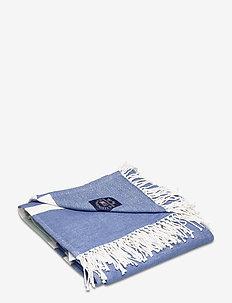 Striped Cotton Throw - tepper - white/blue