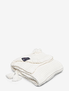Knitted Tassel Throw - viltit - white