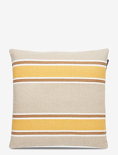 Striped Cotton Canvas Sham - cushion covers - yellow