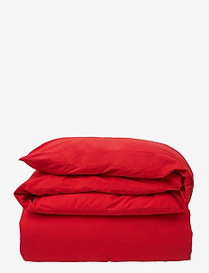 Red Washed Cotton Flat Sheet - lakens - red