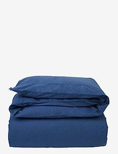 Blue Washed Cotton Flat Sheet - lakens - blue