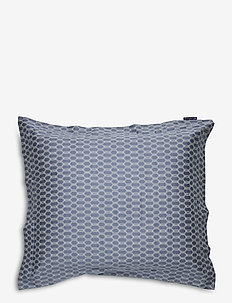 Steel Blue/Off White Printed Cotton Sateen Pillowc - taie d'oreiller - steel blue/off white