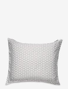 White/Dk Beige Printed Cotton Sateen Pillowcase - kussenslopen - white/dk beige