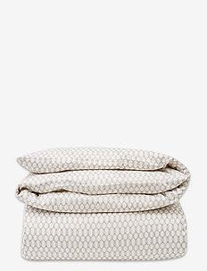 White/Dk Beige Printed Cotton Sateen Duvet Cover - dekbedovertrekken - white/dk beige