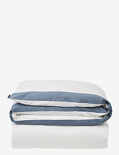 White/Steel Blue Contrast Cotton Sateen Duvet Cove - housses de couette - white/steel blue