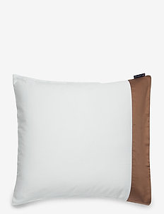 White/Dk Beige Contrast Cotton Sateen Pillowcase - pillowcases - white/dk beige