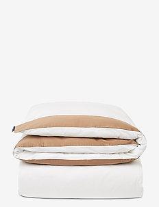 White/Dk Beige Contrast Cotton Sateen Duvet Cover - dekbedovertrekken - white/dk beige