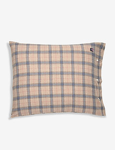 Checked Cotton Flannel Pillowcase - taie d'oreiller - lt beige/steel blue