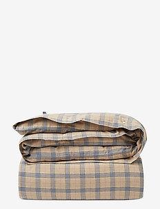 Checked Cotton Flannel Duvet Cover - dekbedovertrekken - lt beige/steel blue