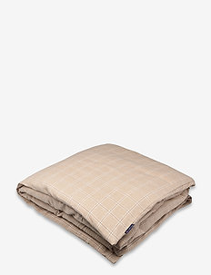 Checked Cotton/Cashmere Flannel Duvet Cover - dekbedovertrekken - beige/white