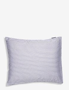 Striped Tencel/Cotton Pillowcase - pillowcases - white/steel blue