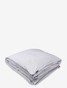 Striped Tencel/Cotton Duvet Cover - housses de couette - white/steel blue