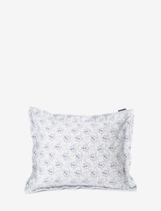 LtGray/Blue Flower Print Cotton Sateen Pillowcase - poduszki ozdobne - lt. gray/blue